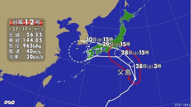 台風12号進路